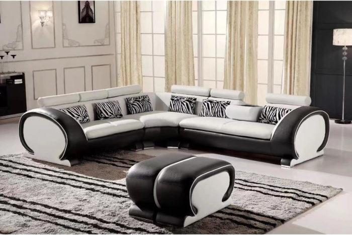 black l shape sofa with ottoman
