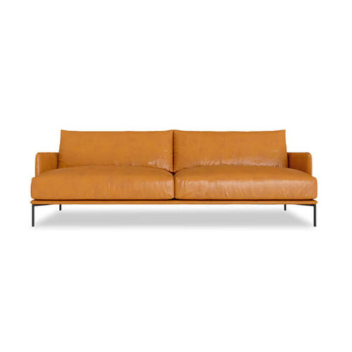 2 seater mid-century tan leather sofa