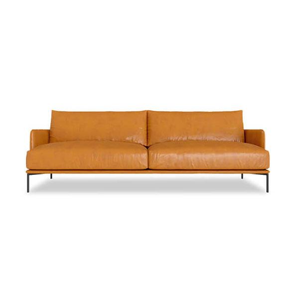 2 seater mid-century tan leather sofa