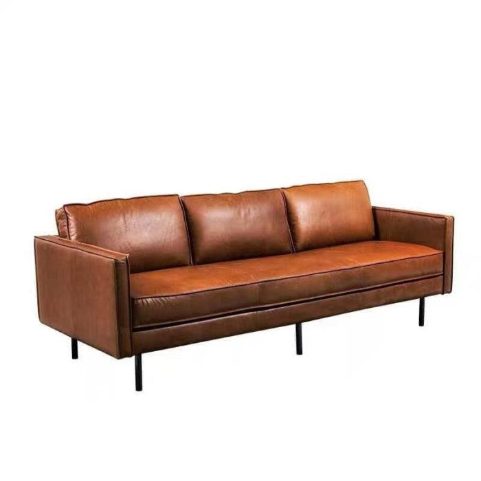 Brown tan leather sofa
