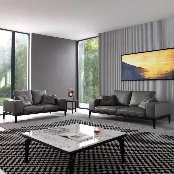 2 piece grey leather couch sofa set