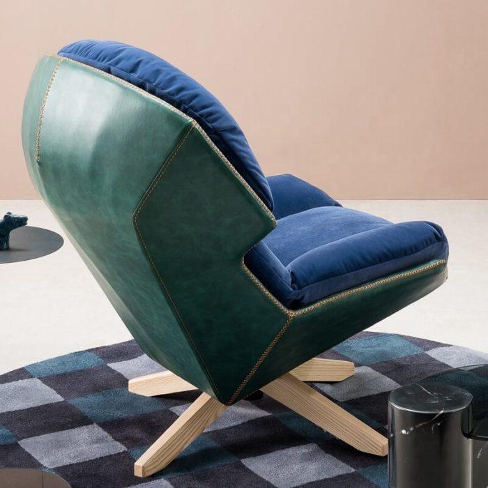 living room blue armchair