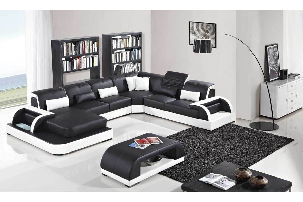 contemporary black leather sectionals