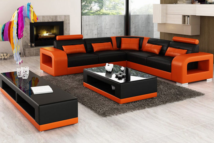5 seater red leather corner couches