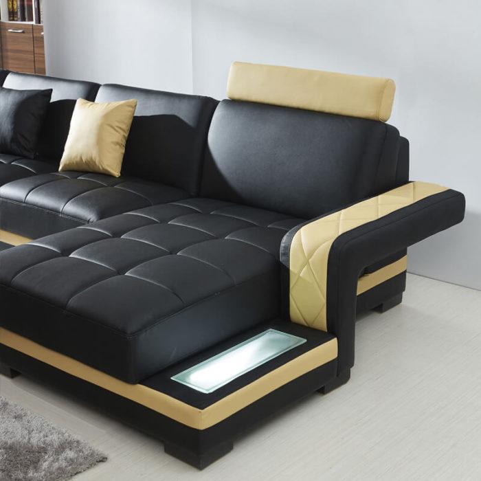 modular leather sofa with led lights