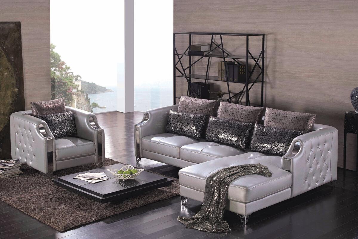 luxury l shaped corner leather sofa set