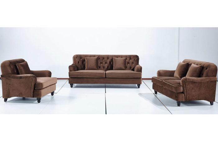 brown fabric framhouse style sofa set