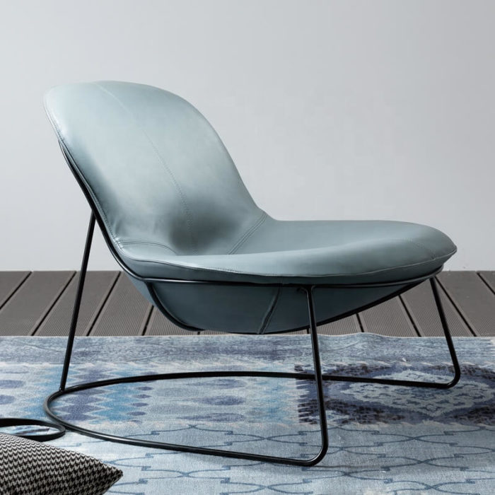 blue leather metal stand armchair