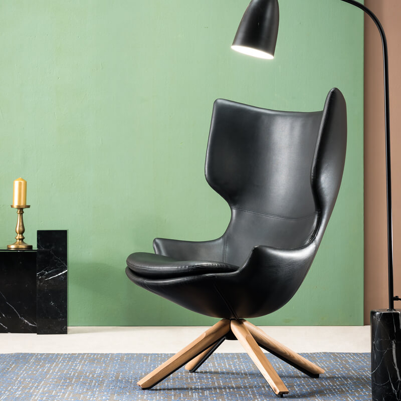 modern black leather wingback armchair
