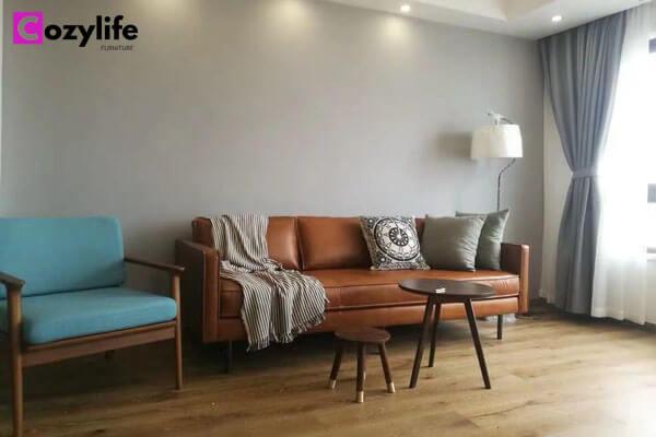 mid century modern tan sofa