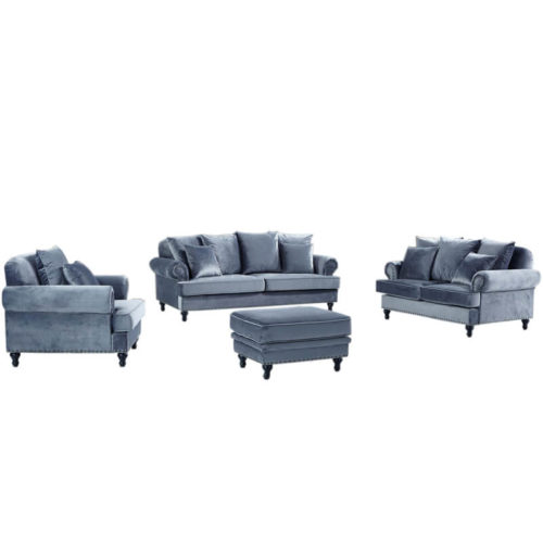 grey crushed velvet sofa