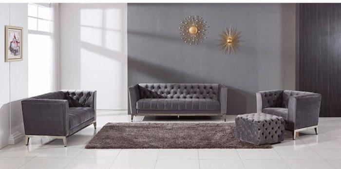 modern Button Tufted grey Velvet Sofa