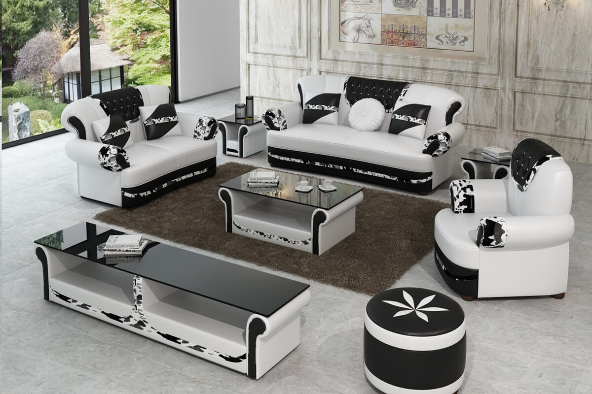 white leather chesterfield sofa set with ottoman