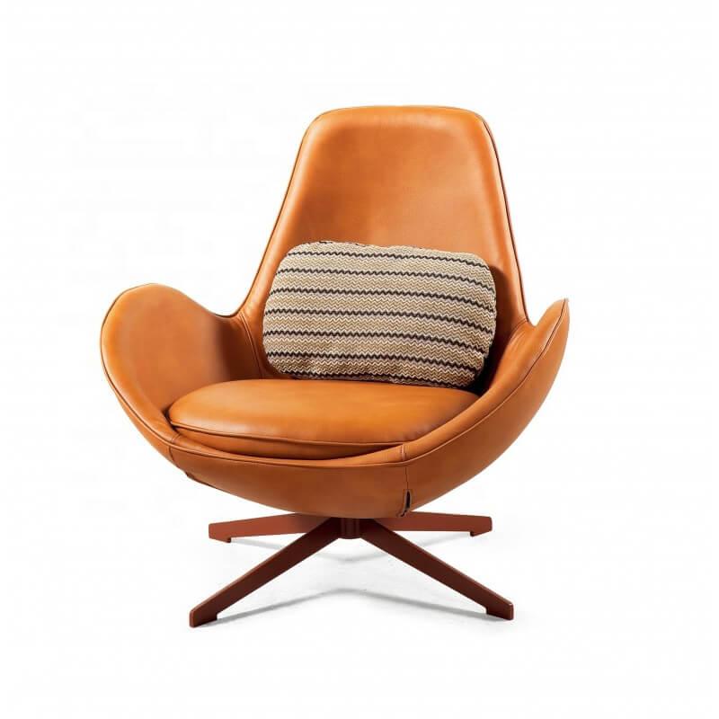modern yellow eggshell swivel armchair