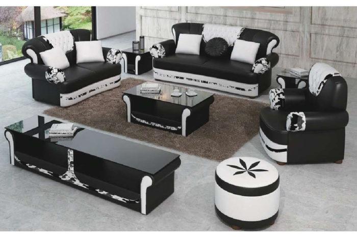 modern italian black leather tufted sofa set