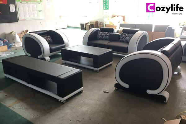 black leather furniture sofa set