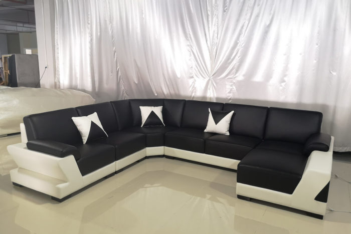 black leather couch with chaise