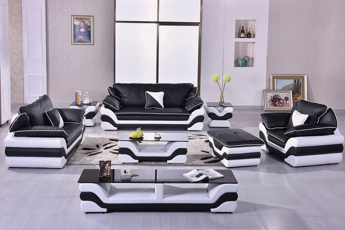 modern black wood furniture sofa set