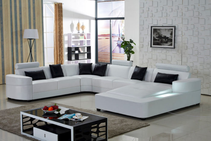 white leather sectional u shaped modular lounges