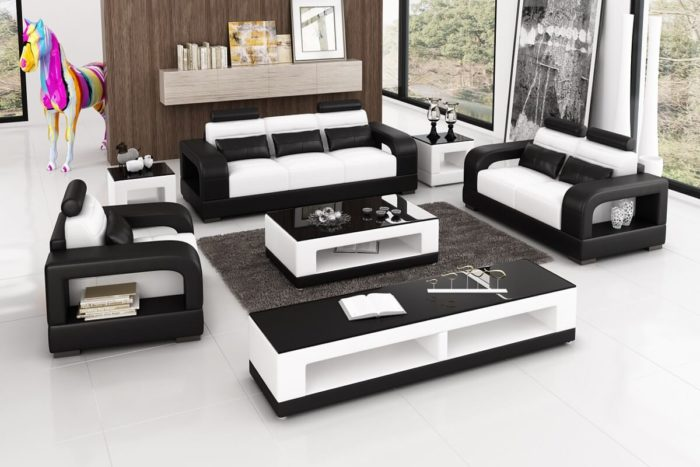 black leather wooden sofa set with tables