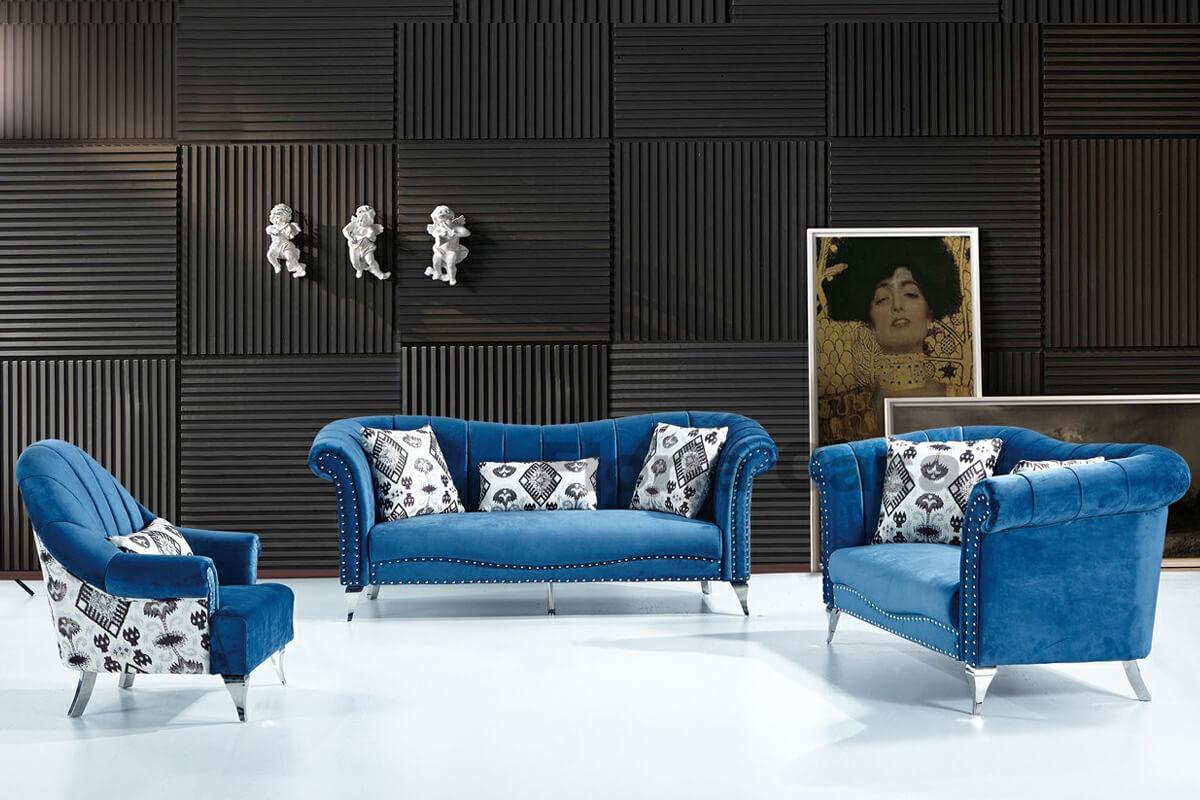 blue camel back sofa set