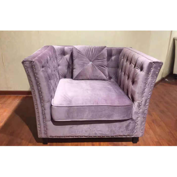 one seater purple chesterfield accent chair