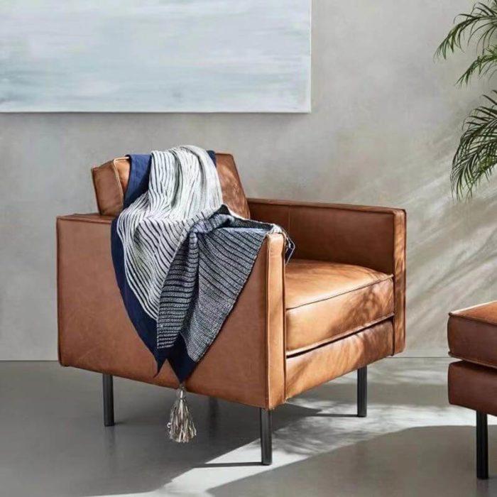one seater tan sofa