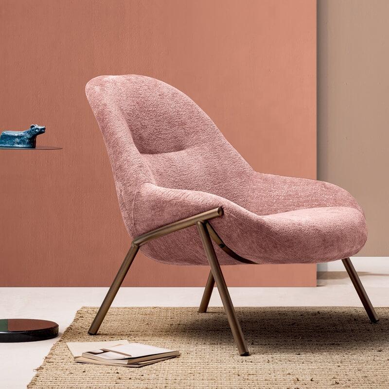 modern velvet pink armchair design