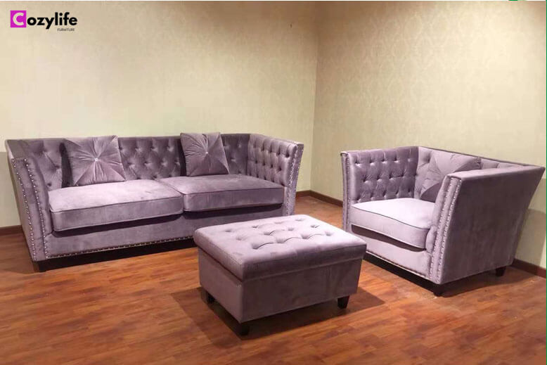 purple chesterfield sofa set