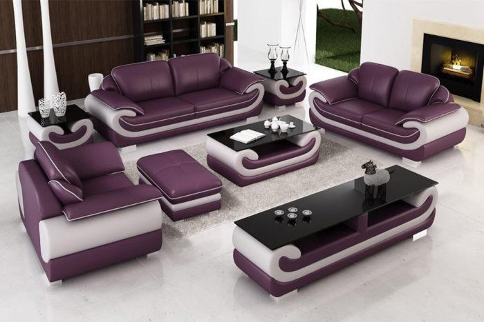 5 piece purple top grain leather couch set