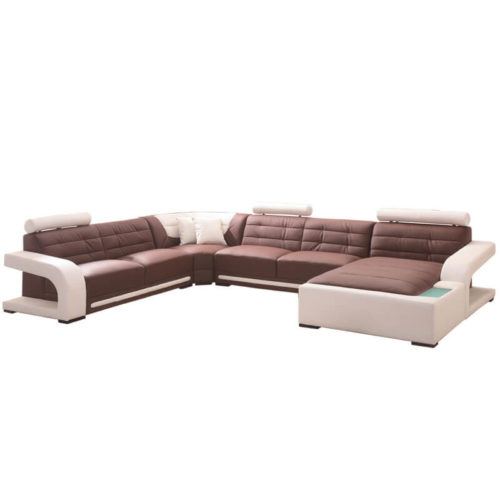 left hand brown leather corner sofa