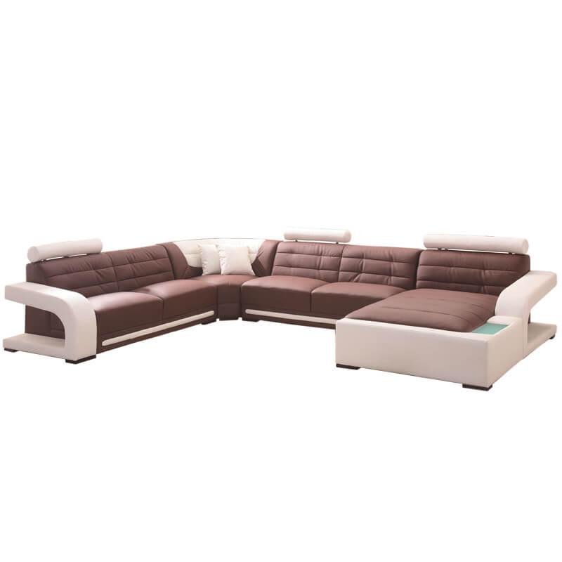 left hand brown leather corner sofa