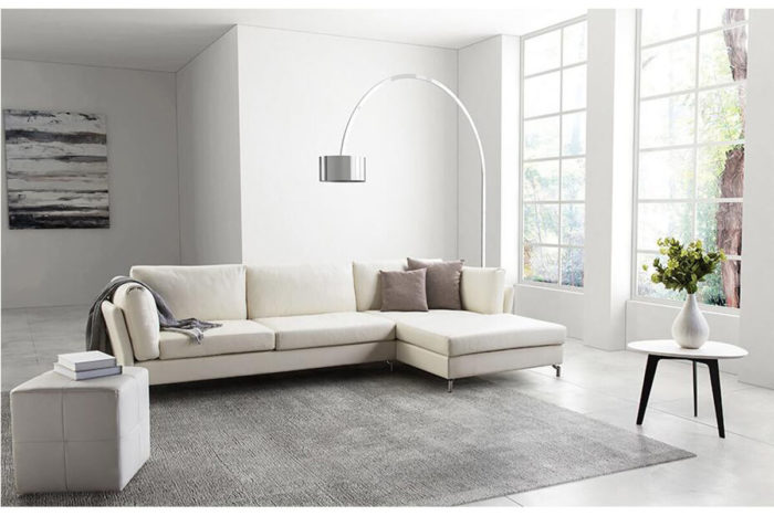 white leather corner l couch