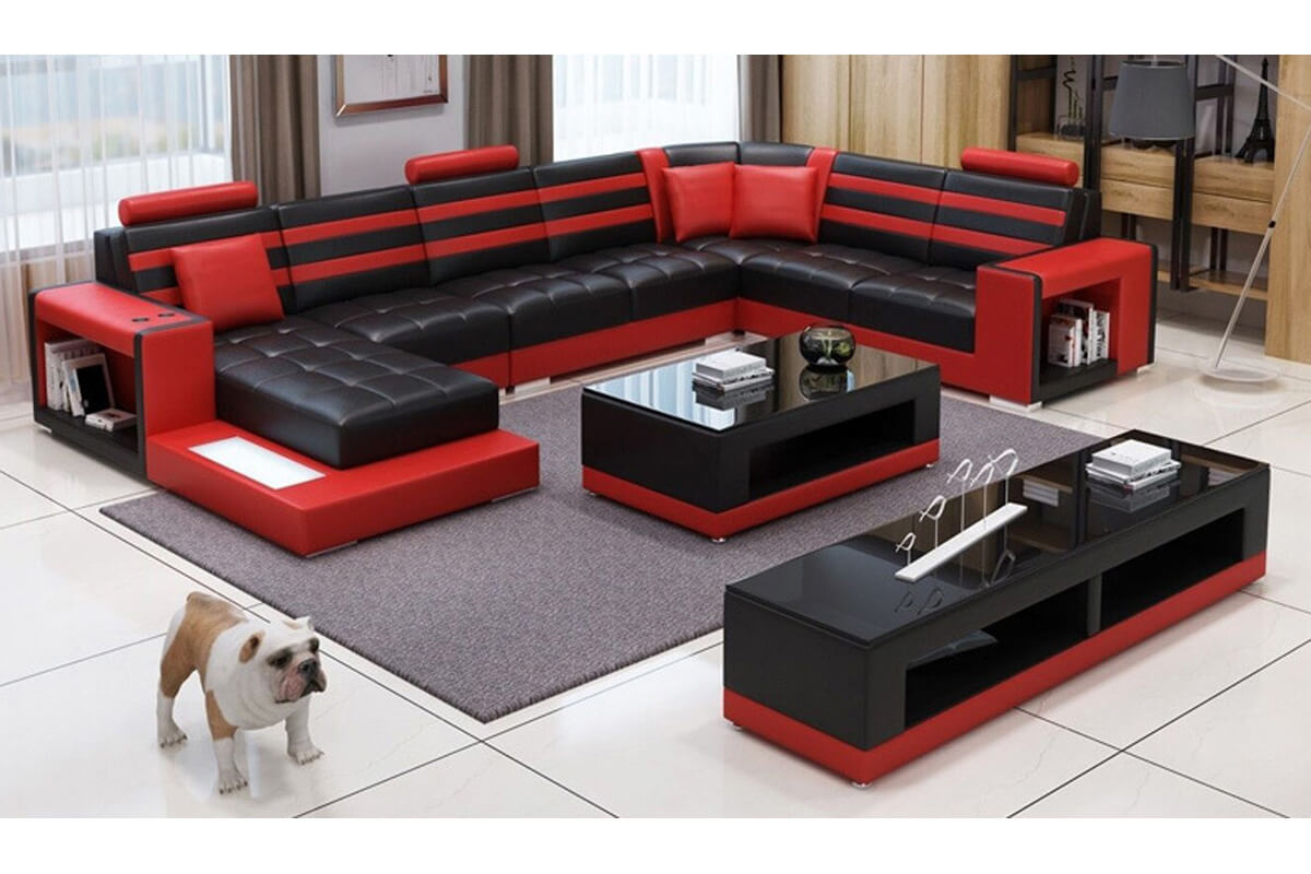 red faux leather large sectional sofa with chaise