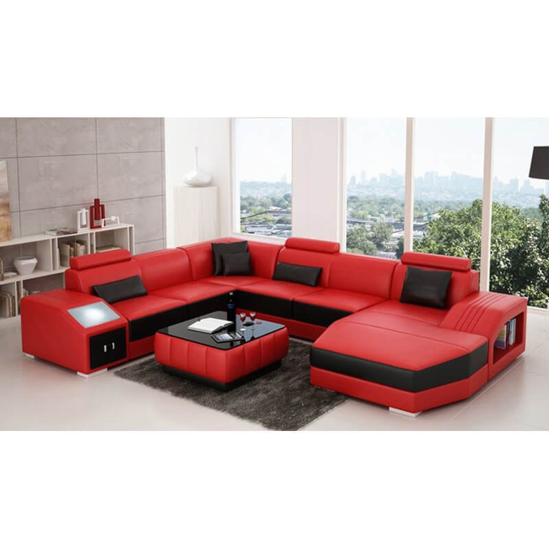 red u shaped sectional sofa with table