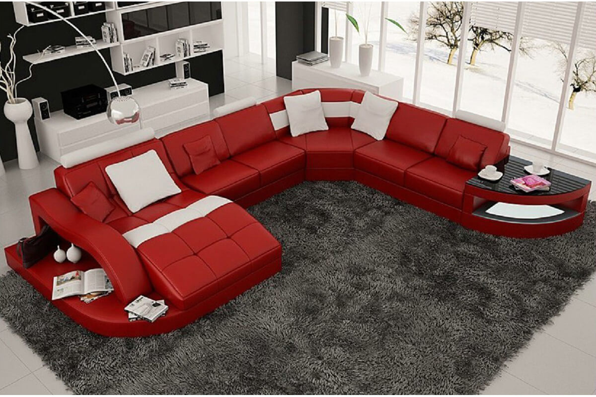 5 piece red sectional couch with chaise