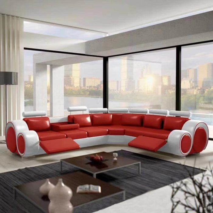 red sectional leather sofa