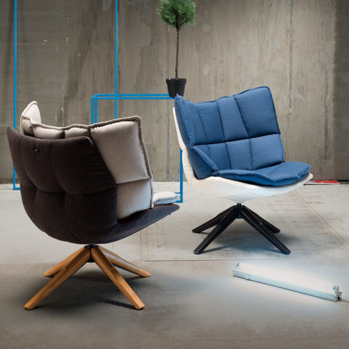 modern blue rotate armchair