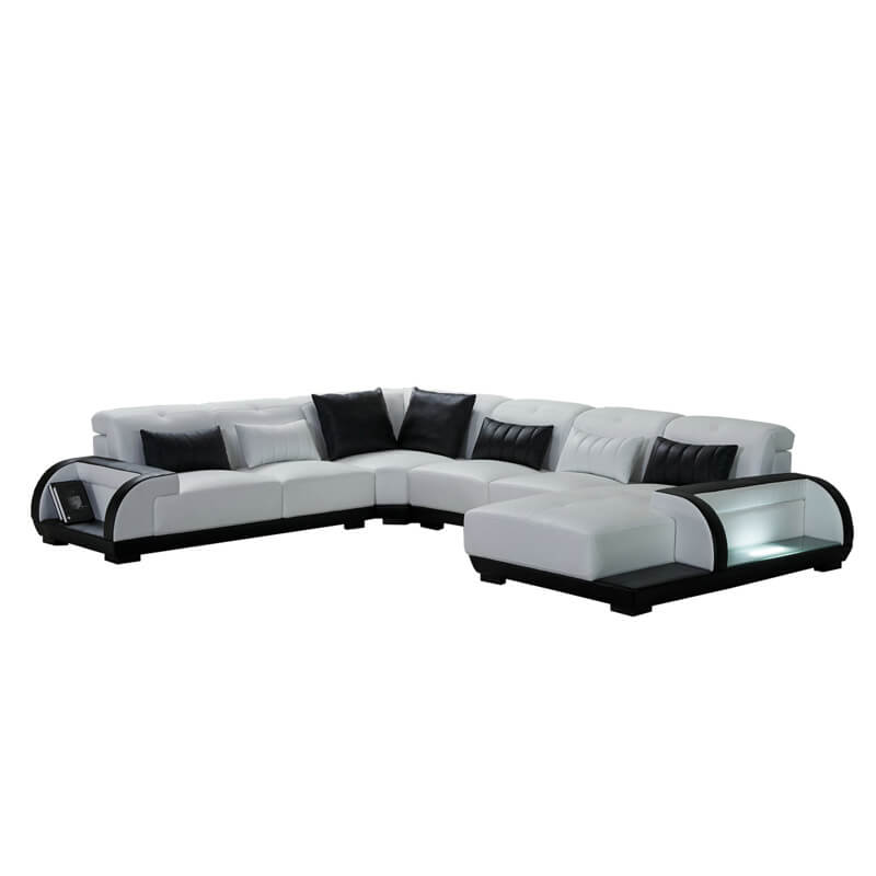 white microfiber sectional couches
