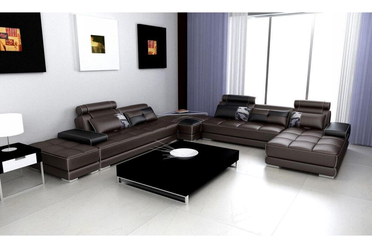 extra large brown leather corner sofa