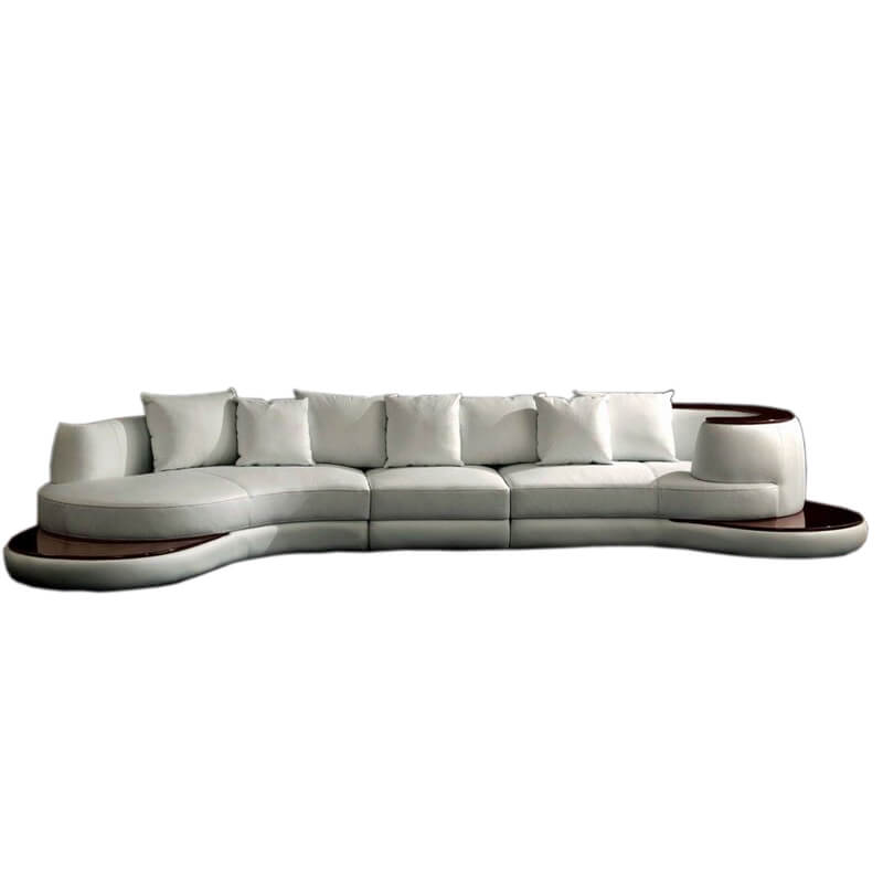 living room curved cream sectional sofa
