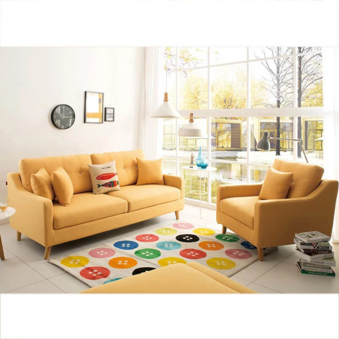 yellow storage couch bed set