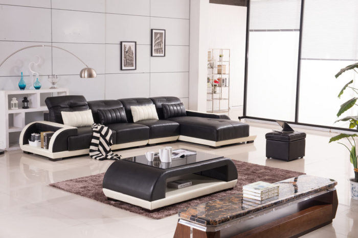 small L shaped sofa with ottoman