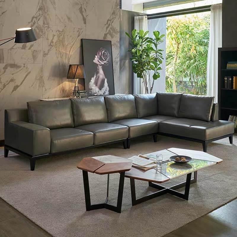 large corner L shaped leather sofa