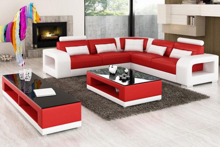 red modular corner sofa