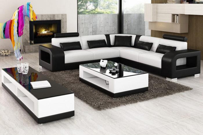 black and white leather corner sofa