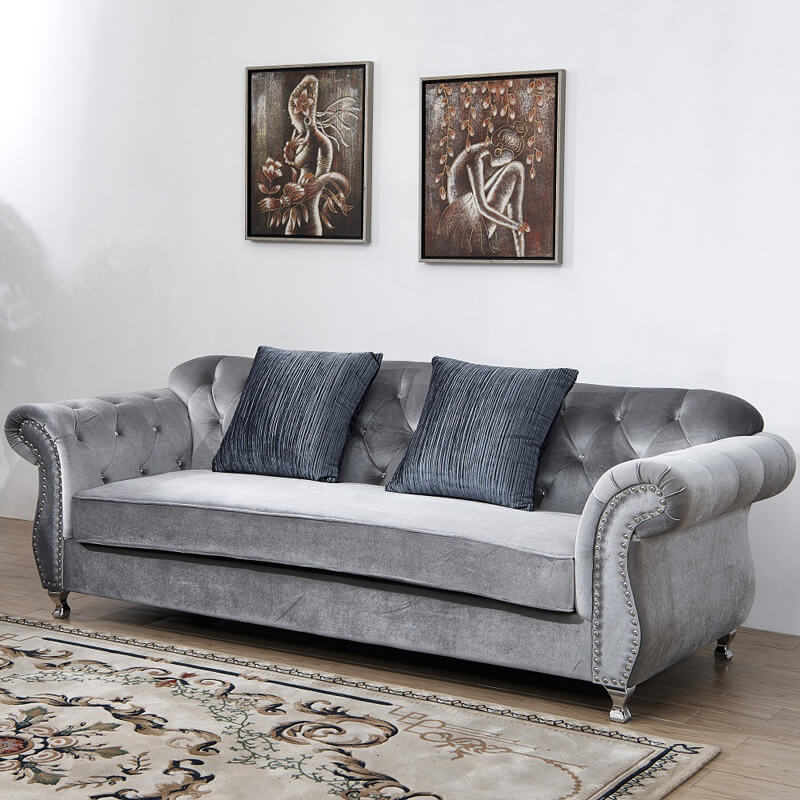 3 seater grey crushed velvet chesterfield sofa