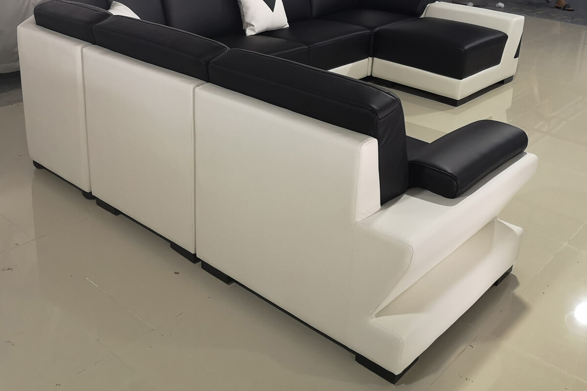 sectional leather sofa back detail