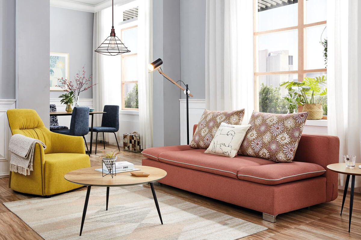 pink foldable sofa bed