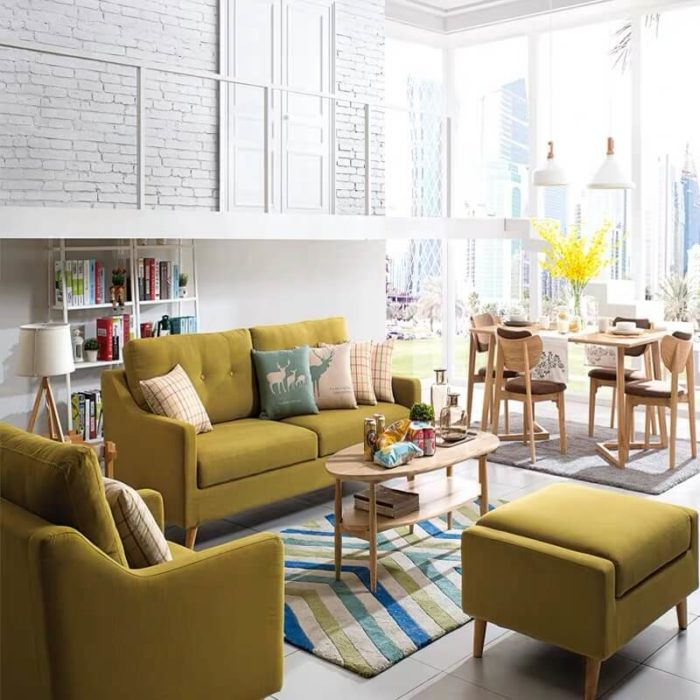 modern yellow sofa bed with storage